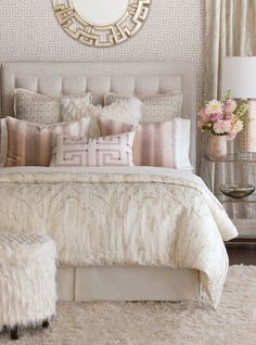 Luxury Bedding by Eastern Accents - Halo Collection - vintage rose ceiling - benjamin moore rosetone or tissue pink - Bedroom Design Ideas Master Bedroom Design, Dream Bedroom, Modern Bedroom, Bedroom Designs, Master Suite, Diy Bedroom, Feminine Bedroom, Pink Master Bedroom, Teen Bedroom