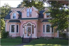Pink Victorian House - more pink houses - love the doorway entrance to this one