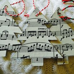 Books + Rec is offering a handcrafted Christmas tree ornament or gift tag made out of vintage classical sheet music. It is the perfect accessory for any music-loving Christmas-celebrator! Diy Christmas Tags, Christmas Arts And Crafts, Christmas Tree Themes, Christmas Music, Christmas Tree Ornaments, Christmas Projects, Glitter Ornaments, Felt Christmas, Homemade Christmas