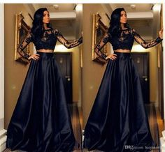 2016 New Cheap Black Two Pieces Prom Dresses Jewel Neck Illusion Long Sleeves Lace Appliques Open Back Cheap Long Party Dress Evening Gowns Online with $119.6/Piece on Haiyan4419's Store | DHgate.com