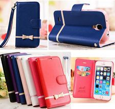Luxury Flip Leather Bowknot Card Holder Wallet Case Stand Cover For Apple iPhone