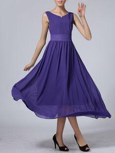 Purple Chiffon Maxi Dress | Choies