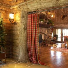 looking into great room from foyer Home Curtains, Rustic Curtains, Check Curtains, Country Style Curtains, Rustic Entry, Lodge Look, Log Home Designs, Lodge Decor, Le Far West