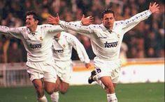 Davor Suker with Predrag Mijatovic playing in Real Madrid