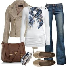 White, khaki and blue jeans love this outfit