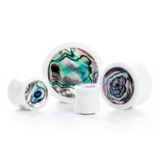 White Abalone Shell Plug | UK Custom Plugs - Ear Gauges, Flesh Tunnels for Stretched Ears