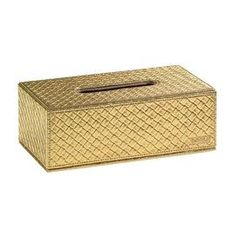 Faux leather tissue box with a textured gold-hued finish.   Product: Tissue box   Construction Material: High quality faux leather Color: GoldDimensions: 3.5 H x 9.9 W x 5.4 DCleaning and Care: Clean with soft cloth