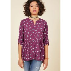 Critters Mid-length 3 Peplum Creative Career Conference Button-Up Top ($50) via Polyvore featuring tops, v neck peplum top, print peplum top, purple peplum top, patterned peplum top and patterned tops