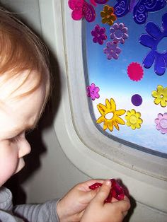 Gel Window Clings for entertaining toddlers on the plane! They also stick to the pages of board books!