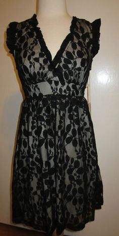 Blue Bird Black & Nude Lace Sleeveless Dress With Tie Back Size Small | eBay