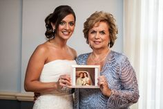 LOVE this idea! Picture with mom holding a picture of mom with grandma on wedding day! Lovebird Productions: Lovely Wedding & Relationship Blog: Navy, Hot Pink and Gold Chic Wedding by Bartlett Pair Photography