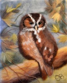 Wool Painting Owl in the Autumn Forest Owl Decor by WoolPictures