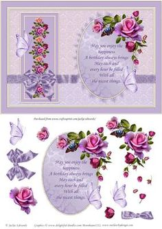 Roses Butterflies and Bow Card Front on Craftsuprint designed by Jackie Edwards - A beautiful array of gorgeous roses with butterflies and a bow. Decoupage for that 3D effect. - Now available for download!