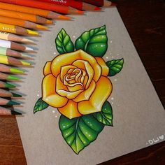 Finished yellow rose~ #coloredpencil #rose #drawing
