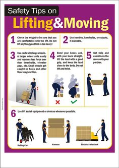 Safety tips on lifitng and moving heavy things Safety Rules, Safety And Security, Home Security Systems, Health And Safety Poster, Safety Posters, Safety Meeting, Safety Message, Construction Safety, Industrial Safety
