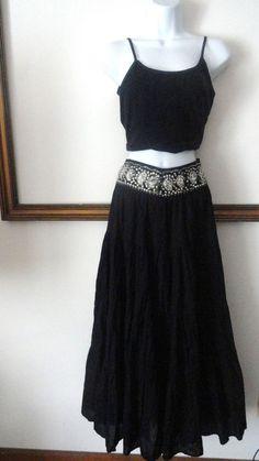 BCBG max azria Black Boho Maxi Skirt  Sequin Beaded Hippie Vintage XS Small S #BCBGMAXAZRIA #Maxi #Skirt #Boho #Peasant #Vintage #Sequin