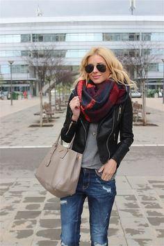 SelfStyle: jeans, grey top, leather jacket, color pattern statement scarf