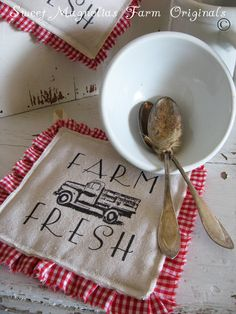 "Sweet Magnolias Farm Originals ~ NEW ~ Farmhouse Hotpads ~ ""Farm Fresh VintageTruck"" $12.50"