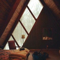 A frame cabin windows A Frame Cabin, A Frame House, Future House, My House, Architecture Design, Attic Rooms, My Dream Home, Sweet Home, House Design