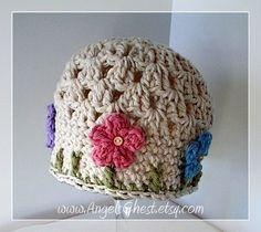 PDF Crochet Pattern Beautiful Spring Beanie Hat por AngelsChest