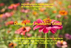 Doing Your Husband Good, Day 20 of the 30 Dates in November Challenge from Becoming His Eve