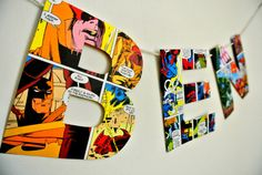 Paper Comic Book Letter Bunting Wall Decoration Birthday Sign Super Hero Boys Kids Bedroom Sign Name Custom Personalized Made to Order Fun Superhero Baby Shower, Superhero Names, Superhero Room, Superhero Party, Comic Book Pages, Comic Books, Book Letters, Wooden Letters, Baby Name Art