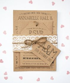 Rustic Kraft, Lace, Invitation Set - with Tag and Twine Detailing