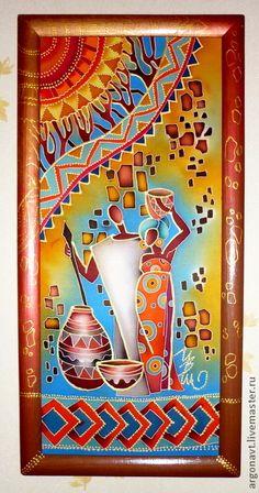 """Этно ручной работы. Ярмарка Мастеров - ручная работа Панно-батик """"Триптих Африканские сюжеты 2"""". Handmade."""