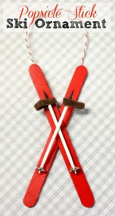 Stick Ski Ornament Popsicle Stick Ski Ornament - This ornament is easy to make with popsicle sticks, toothpicks, felt and sewing snaps. Popsicle Stick Ski Ornament - This ornament is easy to make with popsicle sticks, toothpicks, felt and sewing snaps. Christmas Ornament Crafts, Noel Christmas, Handmade Christmas, Holiday Crafts, Christmas Decorations, Tree Decorations, Christmas Music, Outdoor Christmas, Spring Crafts