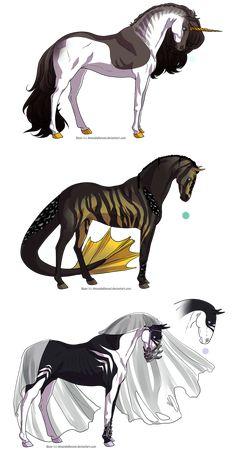 Horse Design Adoptables 2 - CLOSED by Karijn-s-Basement - Zeichnungen - Pferde Mystical Animals, Mythical Creatures Art, Mythological Creatures, Magical Creatures, Creature Drawings, Horse Drawings, Cute Animal Drawings, Creature Concept Art, Creature Design