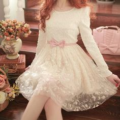 Round Neck Long-Sleeved Dress