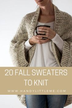 20 Fall Sweaters To Knit Fall sweater knitting patterns - Take a look through this round-up of sweater knitting patterns and find your next project to cast on. Including cable knit sweaters, fair isle sweaters, oversized sweaters and chunky knit sweaters. Knitting Terms, Sweater Knitting Patterns, Free Knitting, Free Chunky Knitting Patterns, Sock Knitting, Knitting Machine, Fall Sweaters, Cable Knit Sweaters, Sweaters For Women