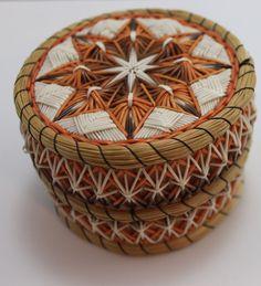 Vintage Original Native American Ojibway Indian Birch Bark Quill Basket-Signed