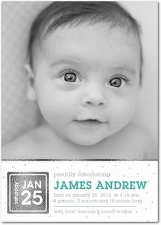 Shining Proud - Boy Photo Birth Announcements - Magnolia Press - Bay Green #baby