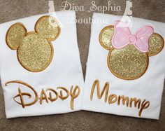 Daddy and Mommy Mickey and Minnie Shirts Set - Pink and Gold -Disney Trip Shirts