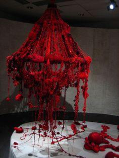 Mandy Greer Instalation Art, Chandelier Art, Macrame Wall Hanging Patterns, Textiles, Stage Design, Textile Artists, Soft Sculpture, Urban Art, Dark Art