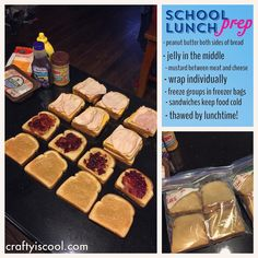 """For busy parents: I started doing this last year on Sunday evenings and it has saved me so much time in the mornings! I make three lunches every day. The kids say the sandwiches taste fresh and they can't tell a difference. Make sure nothing """"wet"""" (jelly mustardetc) is touching the bread. #busymom #schoollunch #lunchboxideas #workingmom #stayathomemom"""