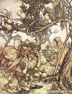 Arthur Rackham. Look at those apples!