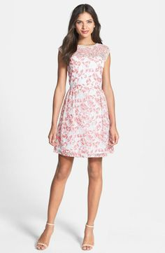 v-back lace fit & flare dress