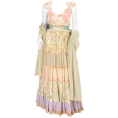 Preowned Early Giorgio Di Sant' Angelo Maxi Dress And Shawl ($850) ❤ liked on Polyvore featuring dresses, beige, beige dress, lace dress, pastel floral dress, lace maxi dress and floral print maxi dress