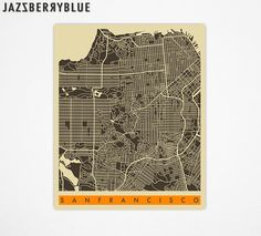 SAN FRANCISCO, CALIFORNIA Map, Poster, Giclee Fine Art Print, City maps for the Home Decor by Jazzberry Blue 8x10 $22