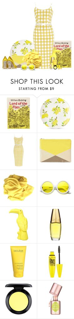 """""""yellow gingham dress"""" by lotte1009 ❤ liked on Polyvore featuring Olympia Le-Tan, Kate Spade, Marc by Marc Jacobs, ZeroUV, Estée Lauder, Decléor, Maybelline, MAC Cosmetics, Benefit and J.Crew"""
