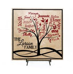 Custom Family Tree Sign Personalized with Names - Family Names, Grandkids Sign, Mother's Day Gift, Personalized Family Sign, Tile Sign