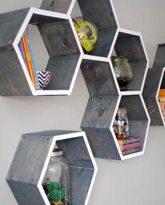 {DIY Tutorial} How-To Make Wood Honeycomb Shelves.