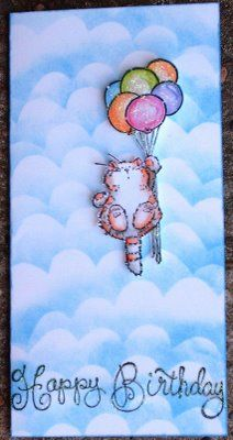 Penny Black kitty iwth balloons birthday card.  I LOVE the sponged clouds - what a great card!!!