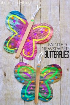Painted Newspaper Butterfly Craft | I Heart Crafty Things