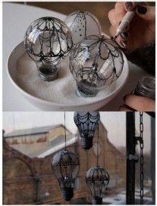 Hot air balloons from light bulbs