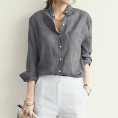 Sexy V Neck Women Blouse 2016 Spring Autumn Casual Long Sleeve Solid Pockets Cotton Tops Shirts Plus Size Blusas Pantalon Large, Casual Outfits, Fashion Outfits, Looks Chic, Casual Fall, Minimalist Fashion, Shirt Blouses, Blouses For Women, Long Sleeve Shirts