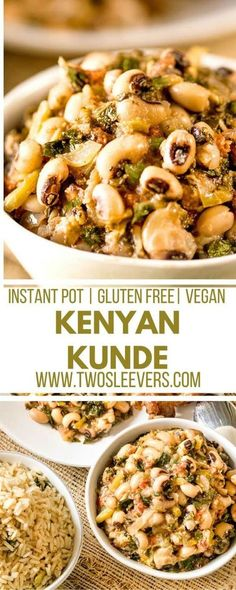 This Instant Pot Kenyan Kunde is a nutritious recipe with black-eyed peas and peanuts that makes a yummy, filling vegan recipe in your pressure cooker. Start with dry beans and have dinner ready in under 30 minutes! via @twosleevers