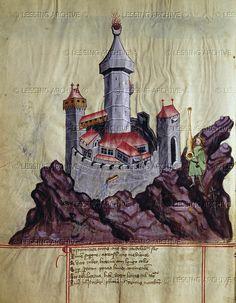 """Castle (fortress on a hill). Illustration from """"Bellifortis MS""""   Universitaetsbibliothek, Goettingen, German"""